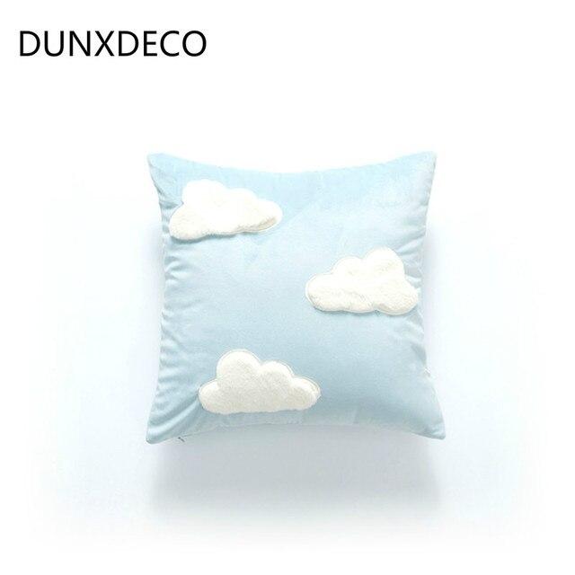 DUNXDECO Housse de Coussin Décoratif Taie d'oreiller Chic 3D Nuage on