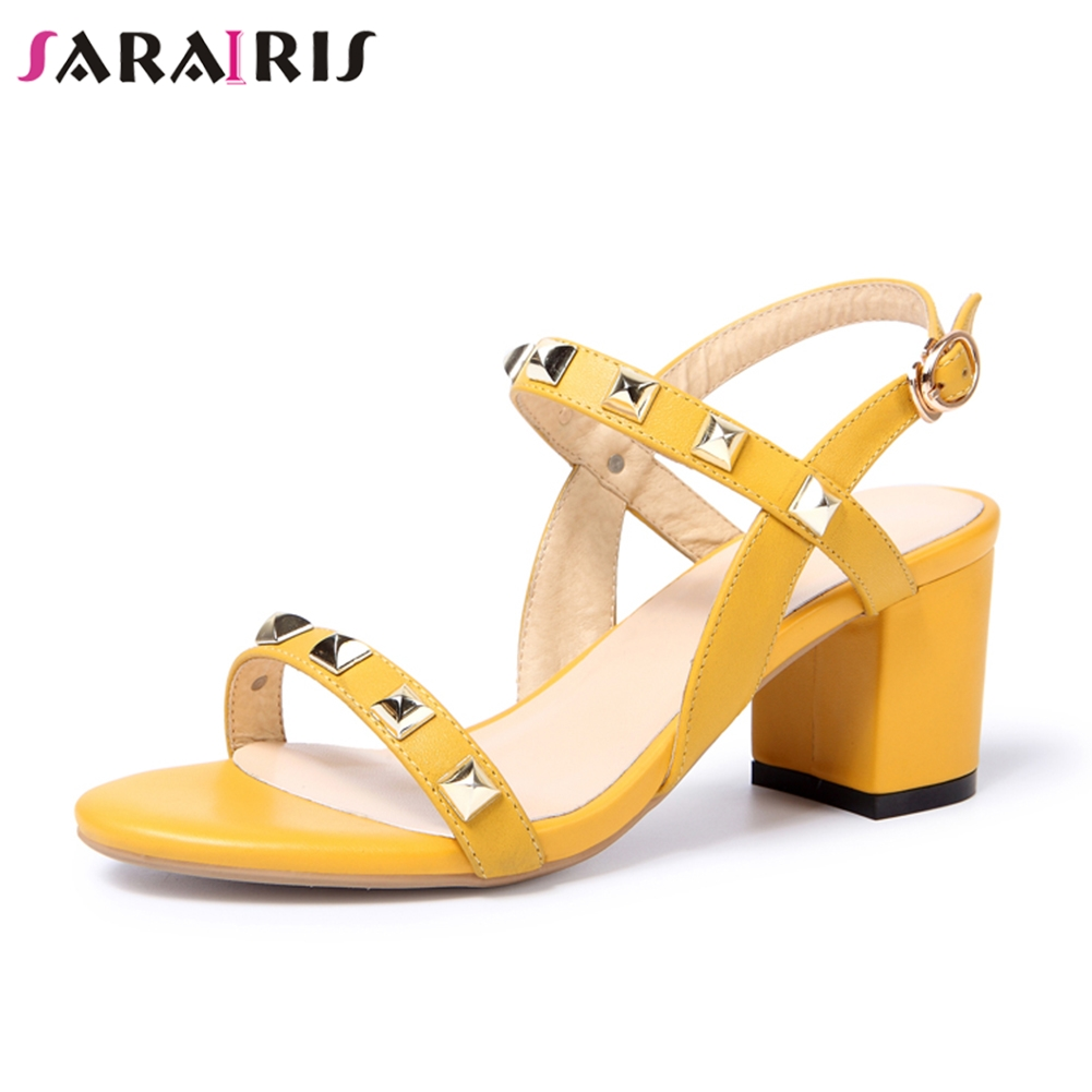 SARAIRIS 2019 Brand Design Genuine Leather Rivets Women Sandals Square High Heel Summer Party Sandals Woman Shoes
