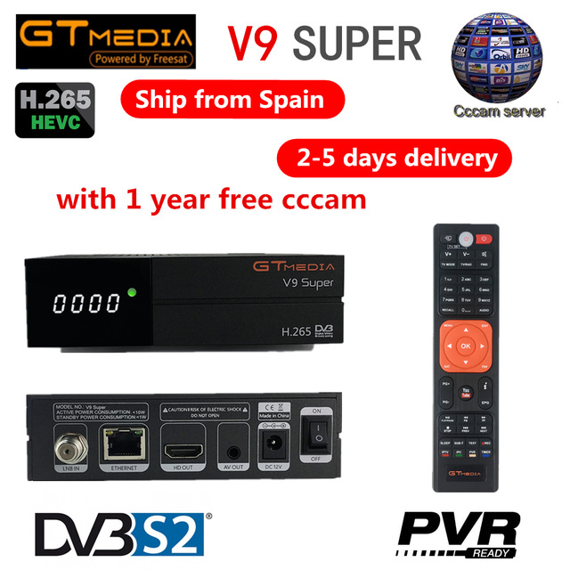 GTMEDIA V9 Super Satellite TV Receiver DVB-S2 FULL HD 1080P Built-in Wifi Support IPTV PowerVu Biss Key DLNA SAT To IP Decoder