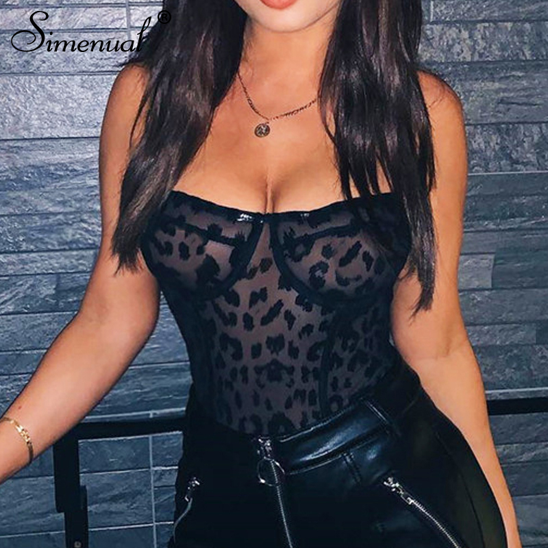 Simenual Leopard Strap Sleeveless Sexy Bodysuit Transparent Mesh Rompers Women   Jumpsuits   Black Hot Summer Overalls Fashion Camis