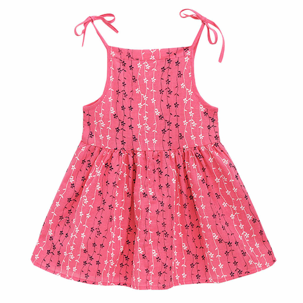 Toddler Kid Baby Girl Print Flower Striped Princess Party Dress Sundress Clothes Children Summer brand Clothes Baby Girls Dress