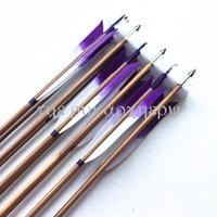 Handmade Bamboo Arrows Eagle Feather Shaft Diameter 8mm Steel Arrowheads 6/12/24pcs