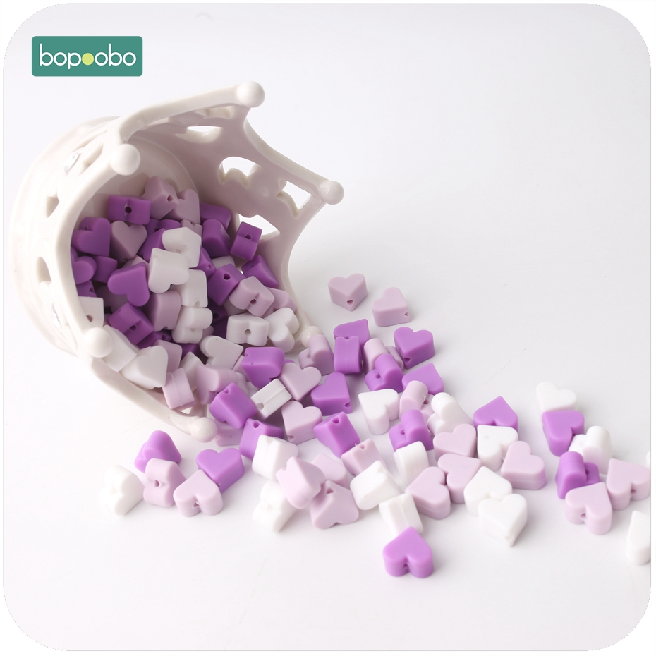 Bopoobo Silicone Beads Teether Purple Series 14mm 30pc Food Grade Teething Silicone Heart Shape Bead Diy Crafts Baby Teether