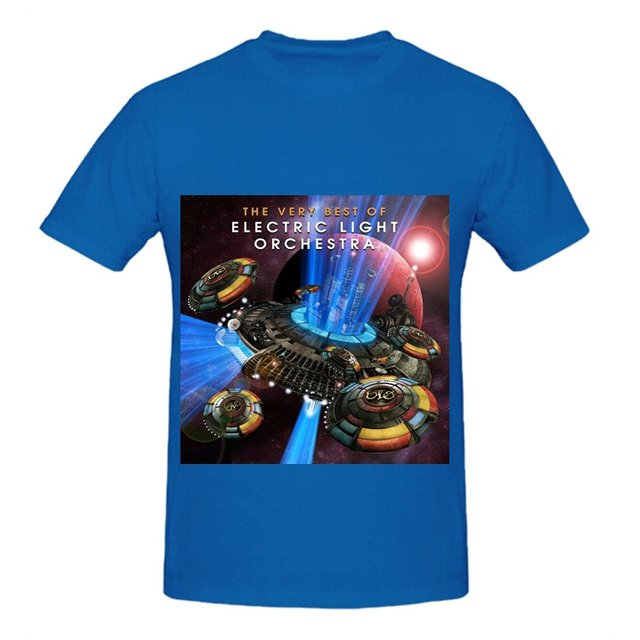 Electric Light Orchestra The Very Best Of Electric Light Orchestra 80s Men O Neck Printed T Shirts Blue