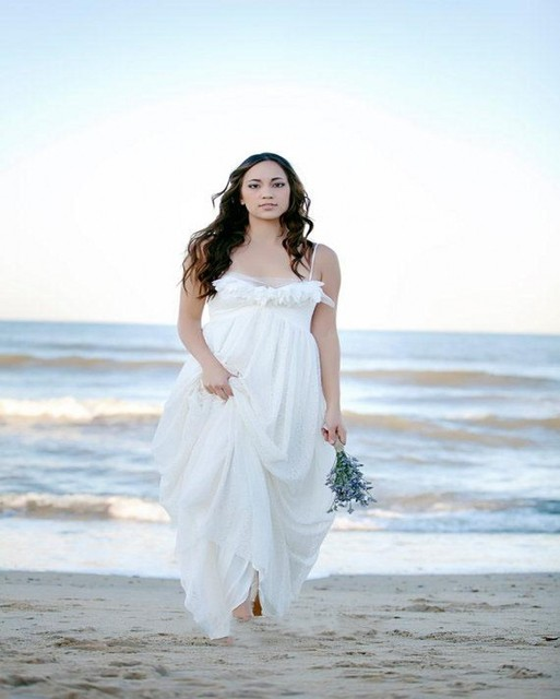 Plus Size Lace Beach Wedding Dress 2016 Sexy Sweetheart Flowers Spaghetti Straps Boho Bridal Dresses Cheap