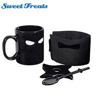 1 parça of murdering kafein özlem kaşık ile kılıç ve shuriken ninja fincan siyah maske tren
