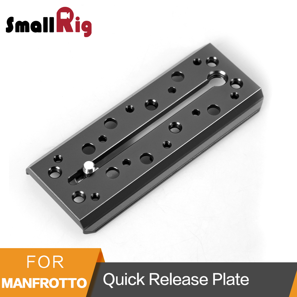 SmallRig Dovetail Quick Release Plate (Manfrotto Style) With 1/4 and 3/8 screw for MVH500AH Tripod Head-1647