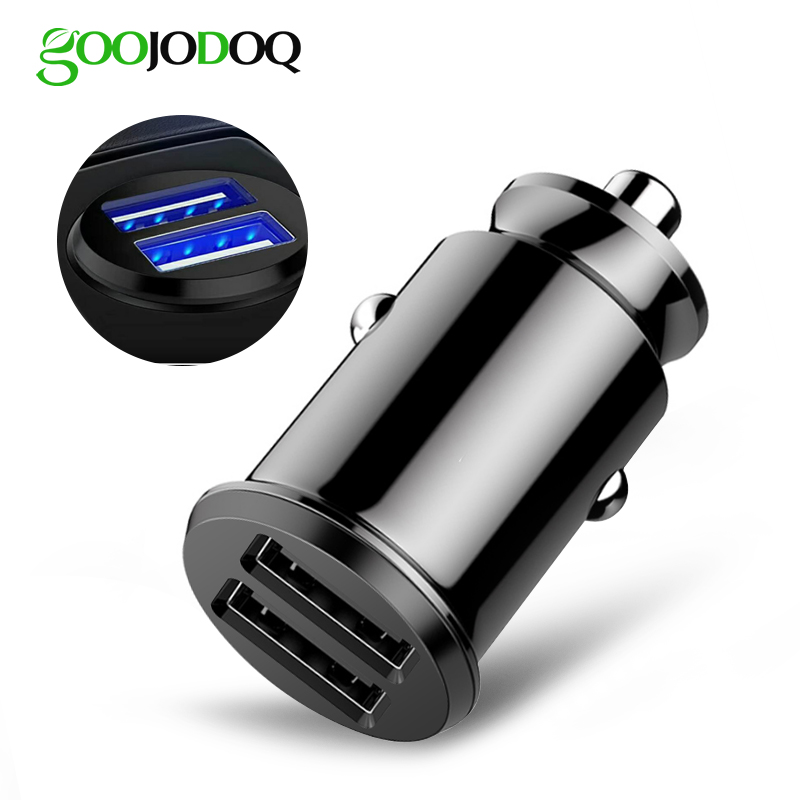 GOOJODOQ Mini Fast Dual USB Car Charger Adapter 3.1A Car Charging For Tablet Mobile Phone Car-Charger Double USB Phone Charger Зарядное устройство