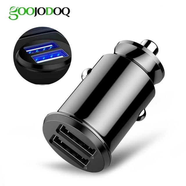 GOOJODOQ Mini rápido adaptador de cargador de coche Dual USB 3.1A carga de coche para tableta teléfono móvil cargador de coche doble USB cargador de teléfono