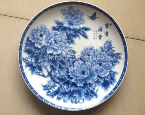 Chinese collectibles antique porcelain plate ceramic glaze blue and chinese collectibles antique porcelain plate ceramic glaze blue and white peony flowers auscipious on aliexpress alibaba group mightylinksfo