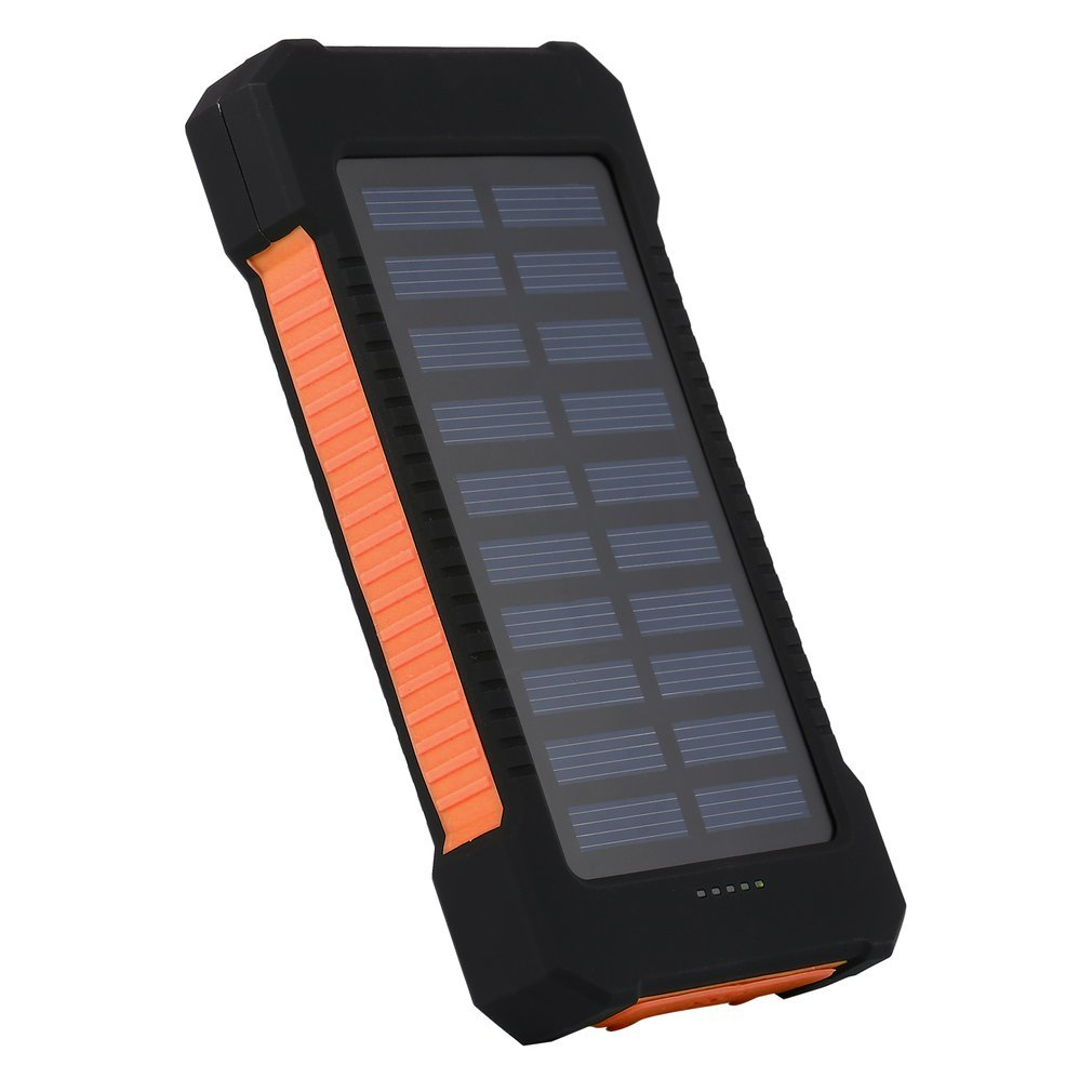 imágenes para 15000 mAh Banco de la Energía Solar de Gran Capacidad Dual USB Compacto A Prueba de agua Luz LED Cargador de Batería Externo Con Gancho