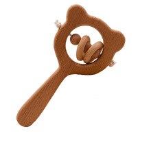 Буковая деревянная погремушка медведь рука прорезывание зубов деревянное кольцо детские погремушки можно жевать бусины играть тренажерный зал Монтессори коляска игрушка обучающие игрушки