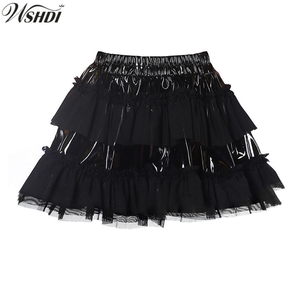 S-XXL New Sexy PVC patchwork Mesh Tutu Skirt Vinyl Wet Look Corset Skirts Pettiskirts Elastic Waist Petticoat Mini Ruffle Skirt