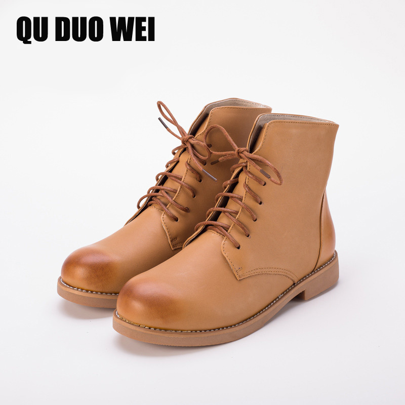 QUDUOWEI 2017 Fashion Genuine Leather Boots Cowhide Ankle Boots For Women Autumn Winter Martin Boots Low-Heeled Shoes Woman