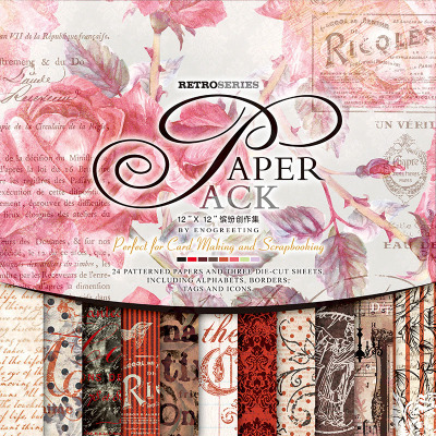 ENOGREETING  passion scrapbooking paper word and label tag die cut pattern with background paper set of 27sheets papercraft kit