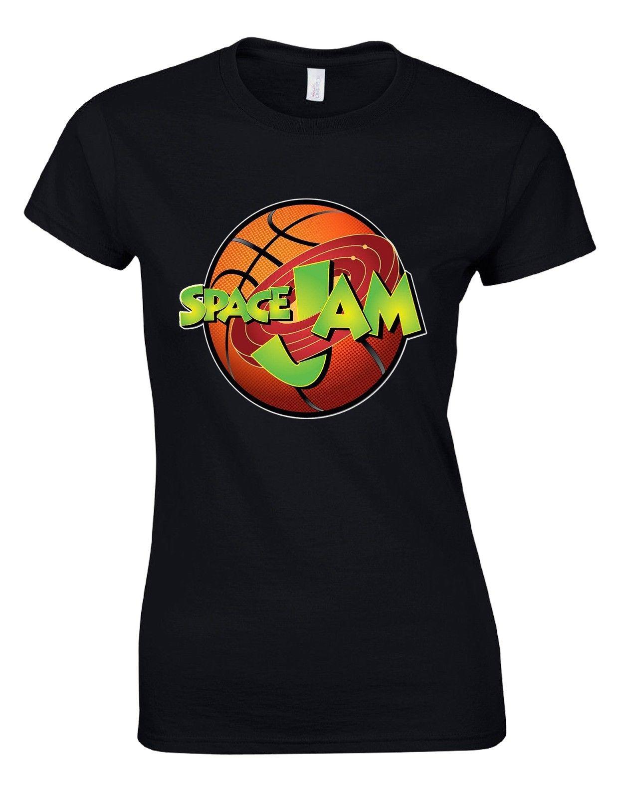 Женские футболки короткий рукав пространство Варенье Looney Tunes Bugs Bunny мультфильм Баскетболисту оранжевый женщина футболка AM27