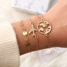 3Pcs/Lot Boho Chain Link Bracelet Set Gold Color Planet Map Pendant Round Beads Personalied Bracelets Jewelry Gifts For Women