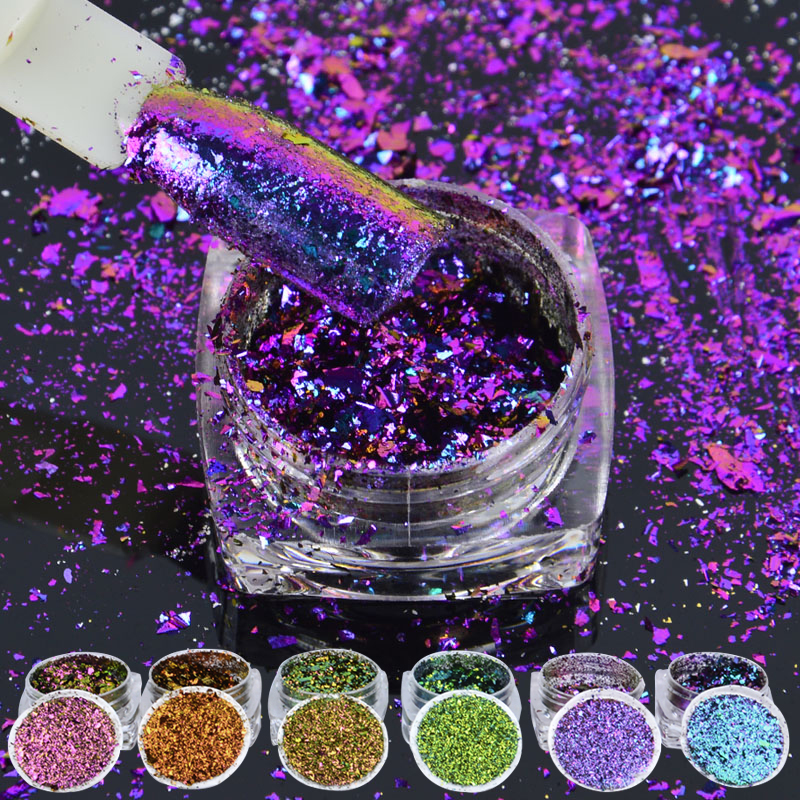 6box/set Multicolor Flakes Bling Sequins 0.2g Nail Art Irregular Chameleon Magic Effect Nail Glitter Power 3D Holo Paillette illusion money box dream box money from empty box wonder box magic tricks props comedy mentalism gimmick