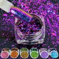 6box/set Multicolor Flakes Bling Sequins 0.2g Nail Art Irregular Chameleon Magic Effect Nail Glitter Power 3D Holo Paillette
