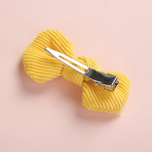 Image 5 - 20 pcs/lot, Soft Corduroy Knot Bow Nylon Headbands or hair clips, baby shower gift