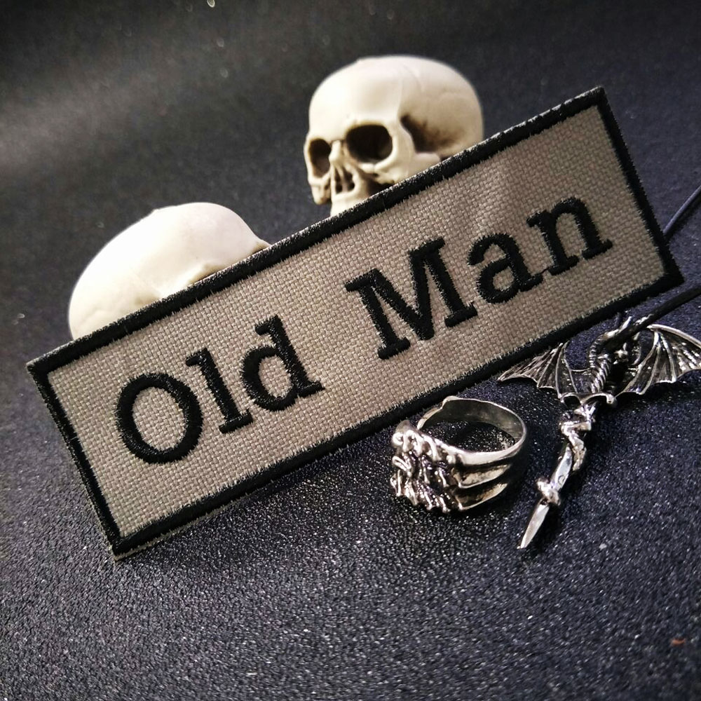 old man Patch Iron On Patch Embroidered Applique Sewing Label punk biker Patches Clothes Stickers Apparel Accessories Badge