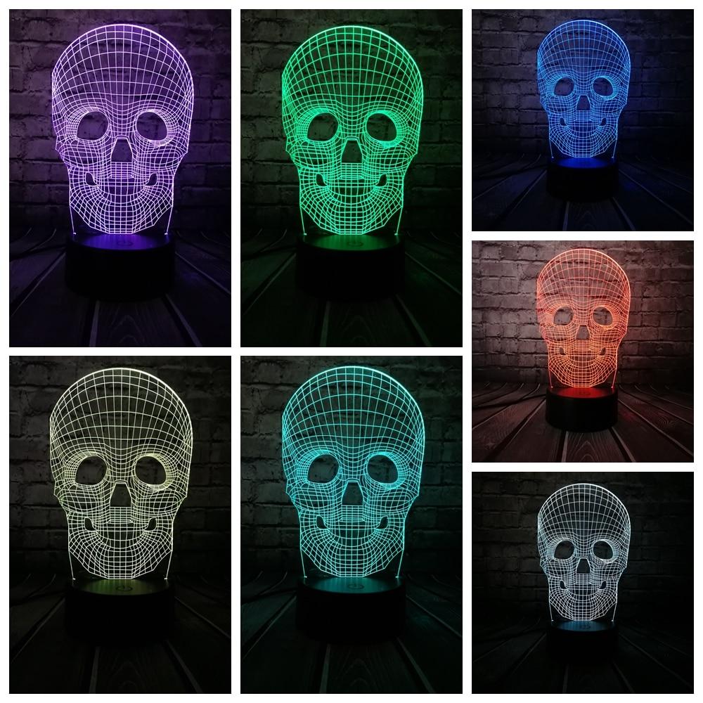 Venta al por mayor Cráneo de Halloween Colorido 3D USB Lámpara LED - Luces nocturnas - foto 5