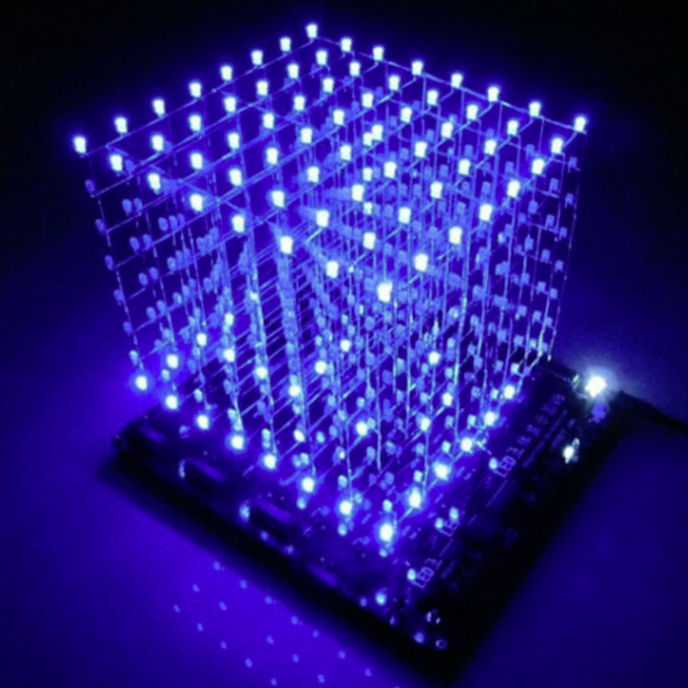 Hot Worldwide 3D Squared DIY Kit 8x8x8 3mm LED Cube White LED Blue/Red Light PCB Board цена