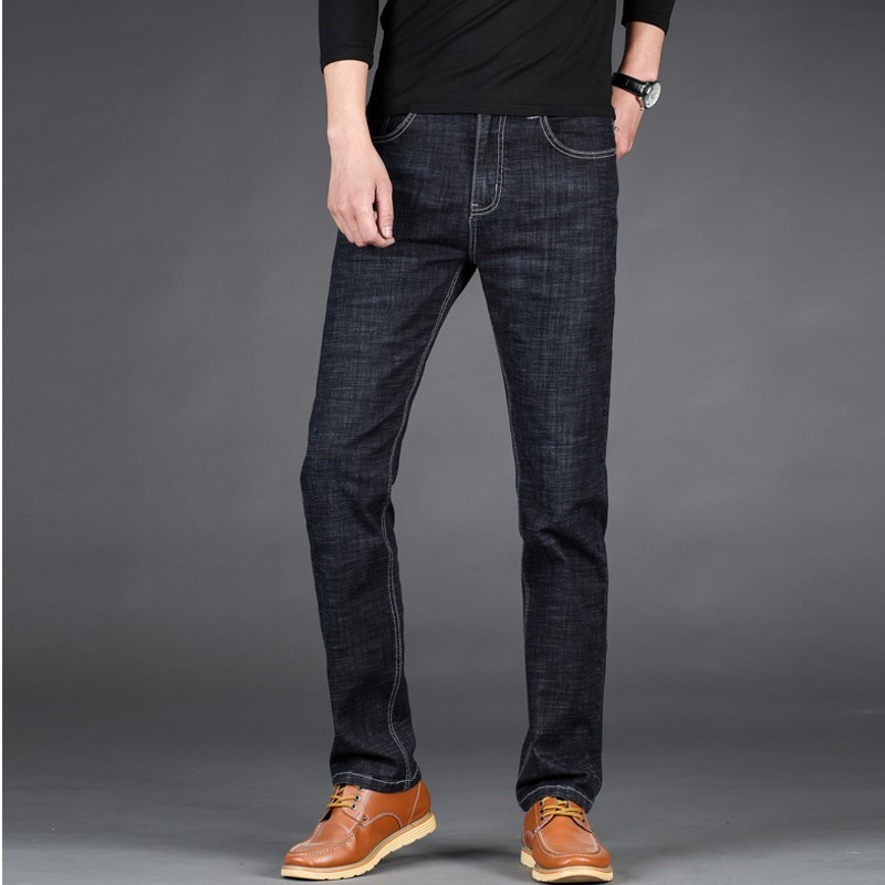 Kowaunkeenly 2018 new arrival High-quality mens brand stretch straight jeans,Fashionable simple jeans trousers,plus size 28-46