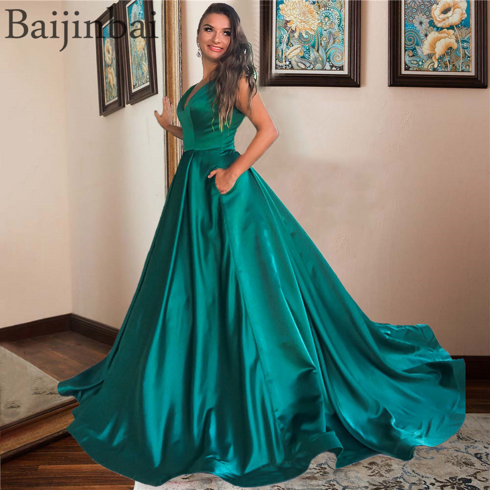 Baijinbai Emerald V-Neck Satin   Prom     Dresses   Ball Gown with Pockets Gorgeous Pageant Party Gowns Sleeveless Formal Evening   Dress