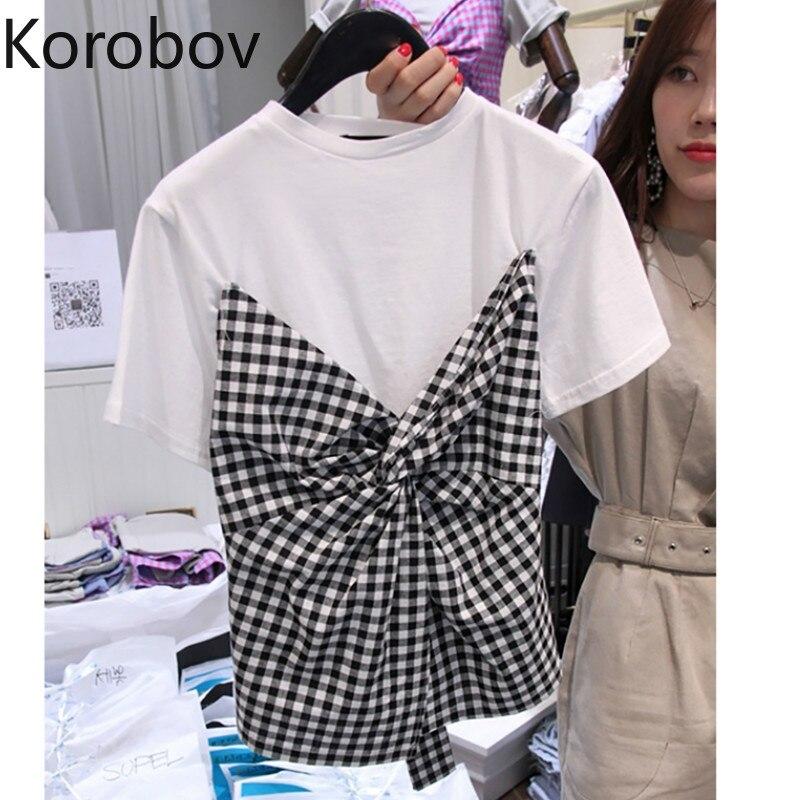 Женская Винтажная Футболка Korobov, летняя футболка с коротким рукавом и бантом, 78085