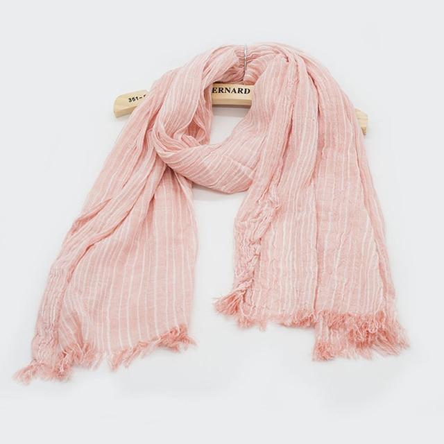 Spring Women and Men Scarf Cotton Linen Vintage Stripe Scarves Wraps 180*80cm 8Color 3