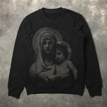 New 2019 Novelty Men Stereo Star Virgin Mary Halo Hoodies Hoody hooded Sweatshirts velvet Cotton Drake Thicken Fleece #E16