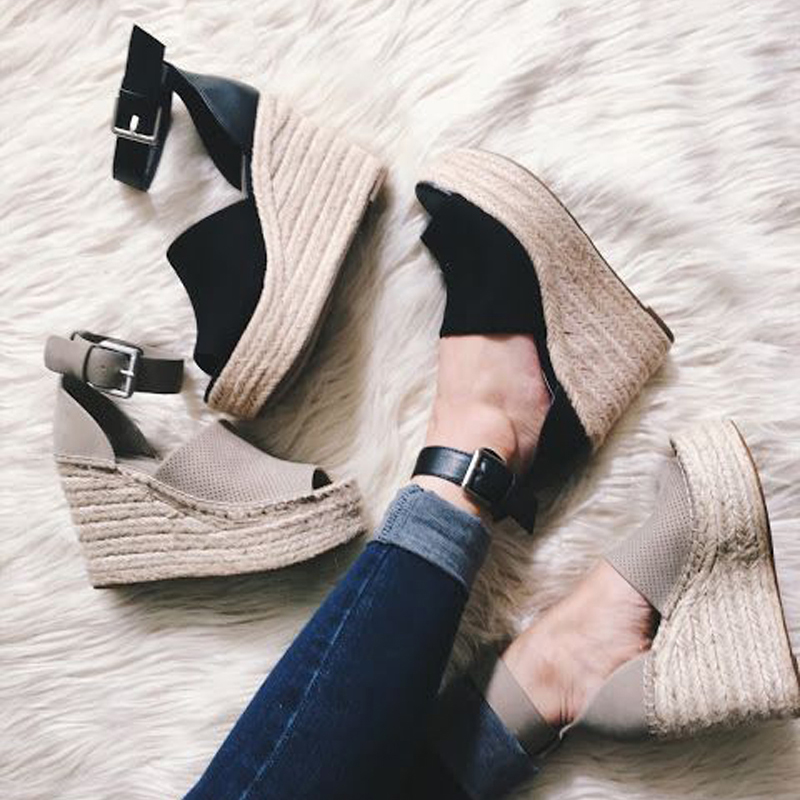 TINGHON Summer Brown Flock Women Platform Sandals Peep Toe Wedge Espadrilles Women Buckle Strap Comfortable Women Sandals in High Heels from Shoes