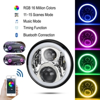 7 LED Headlights Round RGB Halo Angel Eye With Bluetooth APP Control IPhone And Android Compatible