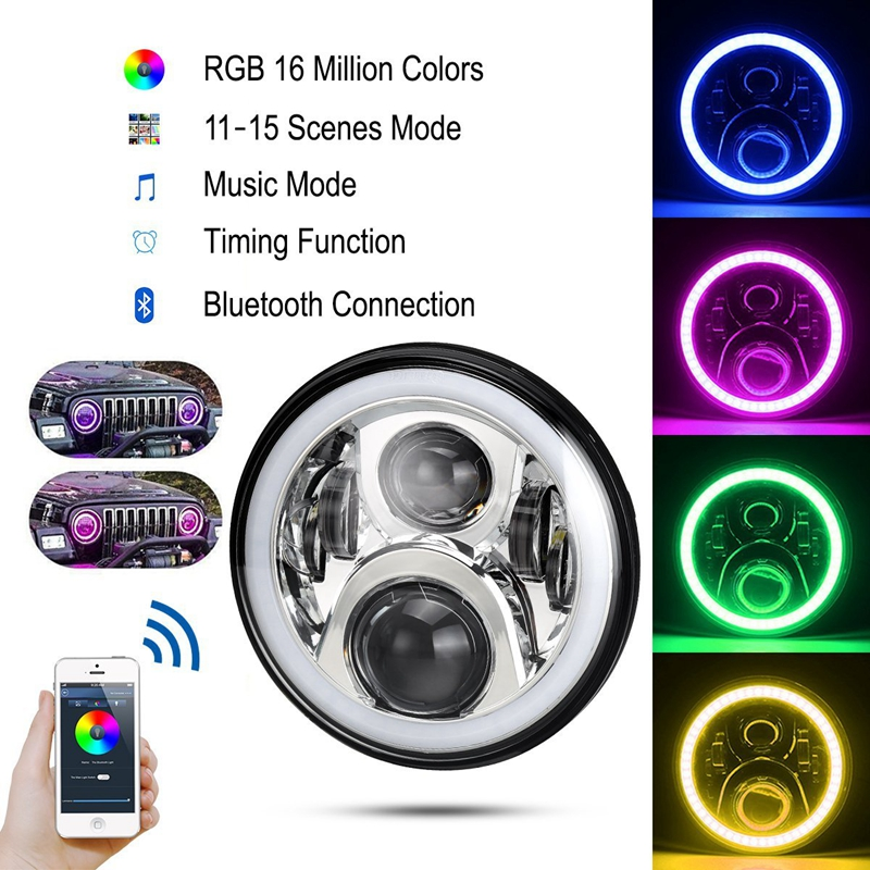 7 LED Headlights Round RGB Halo Angel Eye with Bluetooth APP Control iPhone and Android Compatible for 1997~2016 Jeep Wrangler 7 inches led starry headlights with devil demon eye and led angel for jeep wrangler jk 2 pcs