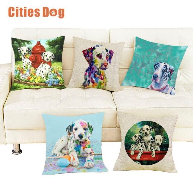 Almohadas cojín almohada perro dálmata patrón cuadrado almohadas ...