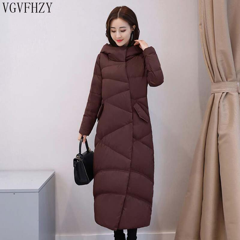 High Quality 2018 Winter New Collection Women Hooded Long White duck down Coat Female Winter light  warm Slim Down Jacket LY1332