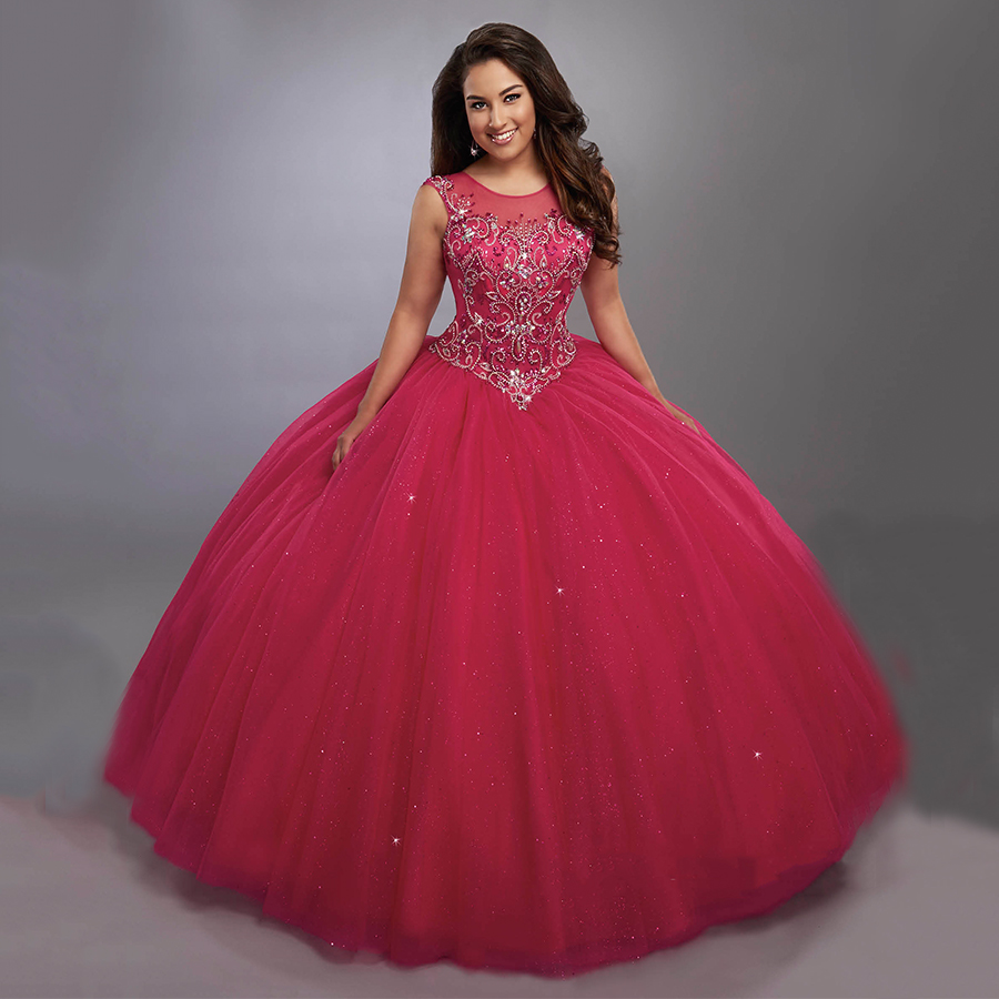 d5386b1185d Gorgeous Ball Gowns Hot Pink Sweet 16 Dresses Puffy Tulle Sheer Neckline  Fashion Sparkly Quinceanera Dresses 2017 Custom Made-in Quinceanera Dresses  from ...