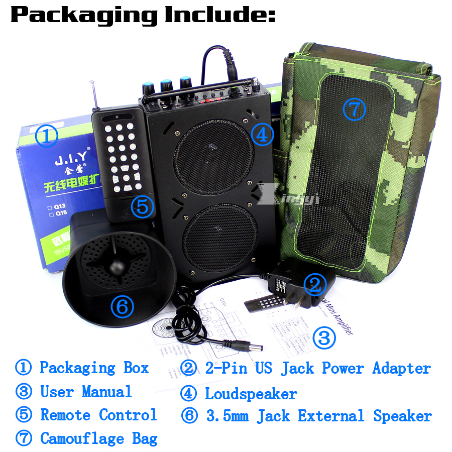 Купить с кэшбэком 85W 1500m Wireless Remote Control Outdoor Digital Goose Hunting Bird Caller MP3 Player Trap Hunt Pigeon Decoy Dual Mini Speaker