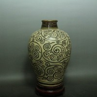Династии Сун Jizhou печи вращения узор бутылки старый китайский фарфор ремесла украшения дома