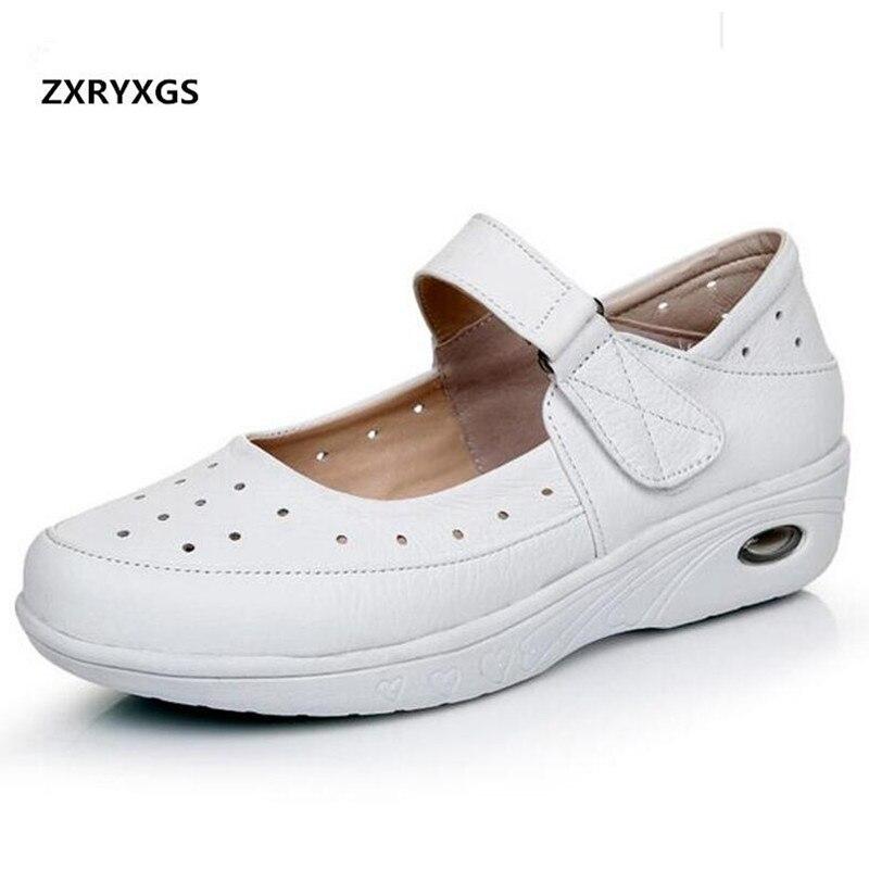 pas mal 0bf50 716f3 € 27.82 18% de réduction|Doux confortable blanc vrai cuir chaussures femme  travail infirmière chaussures de loisir à la mode 2019 printemps femmes ...