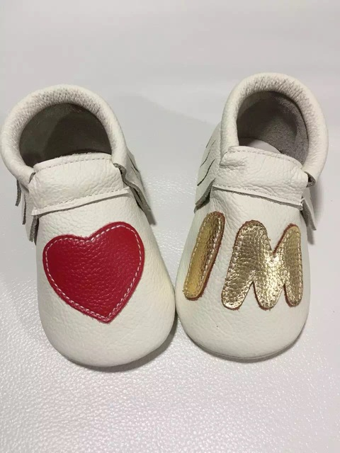 I love mom Genuine leather Toddler baby moccasins infant shoes hard rubber soled top quality tassel gold heart  fashion branded
