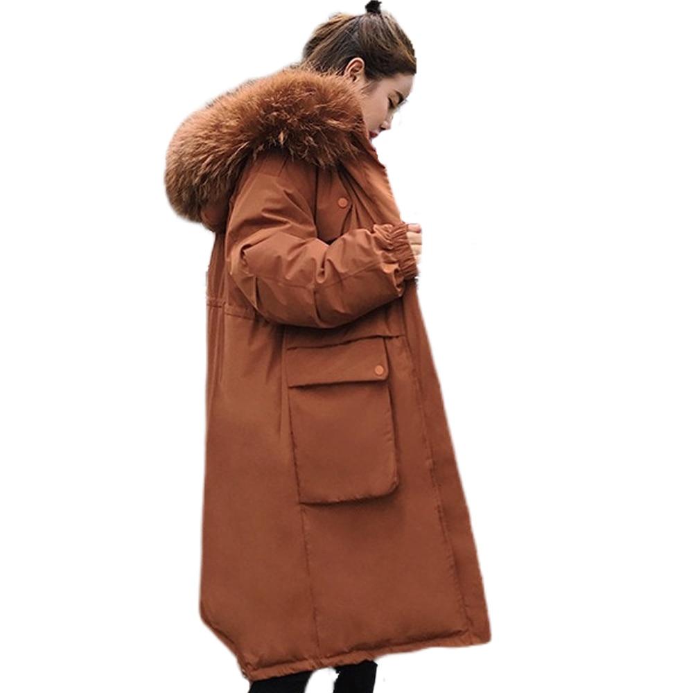 heavy hair brought down   parka   women jacket pocket female thickening coat winter coat women down   parka   goose 8809