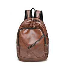 Korean Style Men Backpack Top Quality Leather Double Shoulder Bags School Bag Book Rucksack for male outstoor tote   LJ-0499