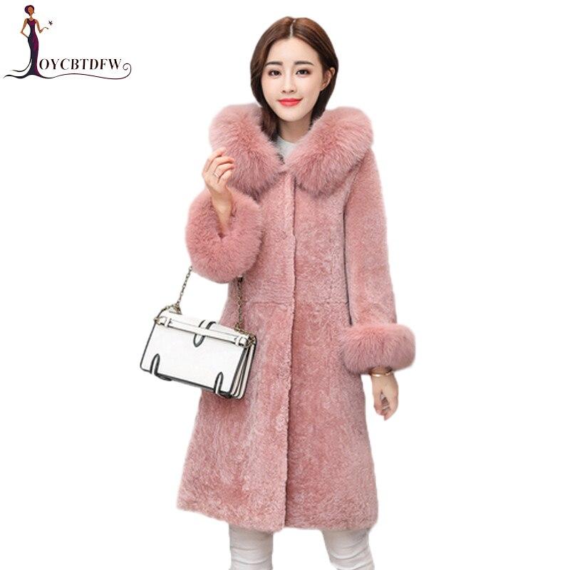 De Dd0808 bean Long Renard Col Femmes Manteau Vêtements pink Red Moyen Hiver  Veste 2018 Fourrure Armygreen Cisaillé Mode Moutons Nouvelle Imitation ... aab2b83a2f2f