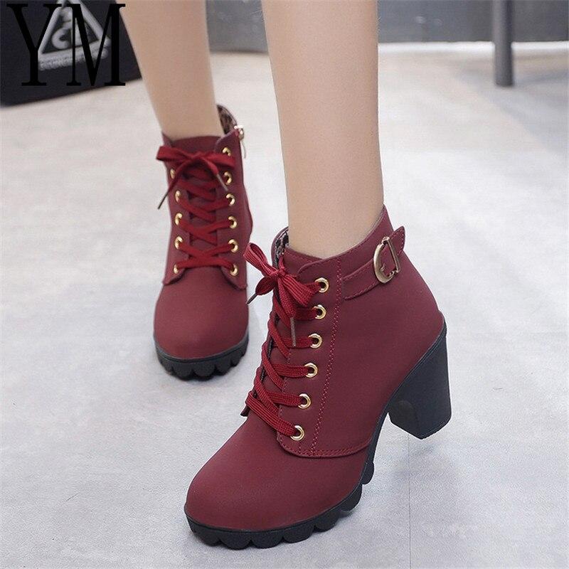 Hot 4Colour Winter Casual Women Pumps Warm Ankle Boots Waterproof high heels Women Snow Martin Boots Shoes Women Botas Plus35-41 冬 ブーツ 編み上げ