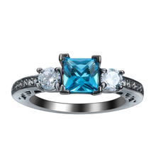 Hot Sale Black Gold-Color Rings For Women Wedding Band Luxury Engagement Blue Cz Jewelry Fashion Love Jewellery