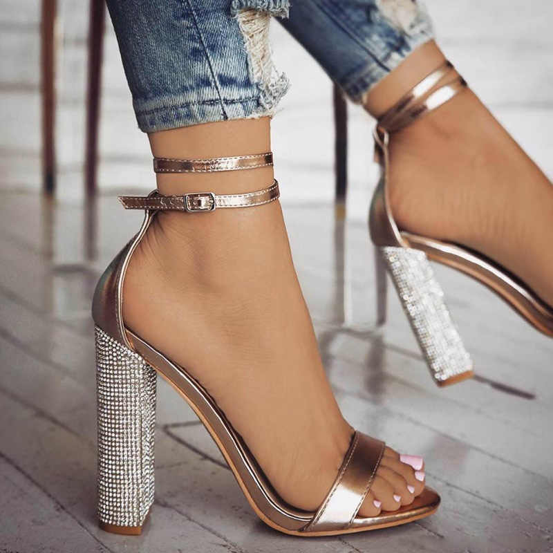 Women block high heels sandals summer luxury crystal heel party wedding shoes  ladies sexy open toe f3597b050e8f