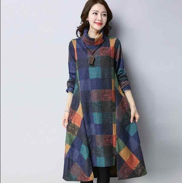 Весенне-осеннее женское платье с высоким воротом, свободное повседневное шерстяное платье в клетку с длинным рукавом, винтажное платье RQ57