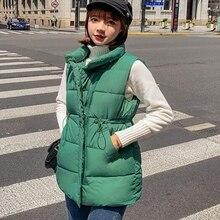 Brieuces Women Vest Winter Jacket Pocket Coat Warm Casual Cotton Padded female Slim Sleeveless Waistcoat